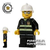 Product shot LEGO City Mini Figure – Fireman With Silver Sunglasses
