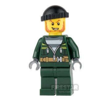 Product shot LEGO City Mini Figure - Bandit - Dark Green Zip Jacket and Knit Cap