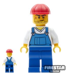 Product shot LEGO City Mini Figure - Blue Overalls - Helmet and Scar