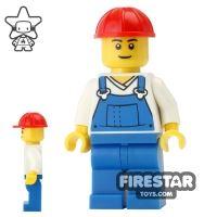 Product shot LEGO City Mini Figure - Blue Overalls - Red Construction Helmet