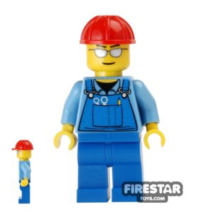 Product shot LEGO City Mini Figure - Blue Overalls and Sunglasses