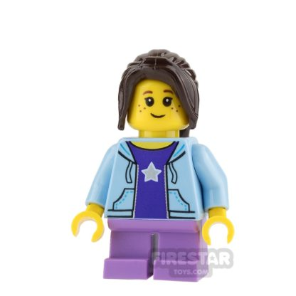 Product shot LEGO City Mini Figure - Bus Passenger - Bright Light Blue Hoodie