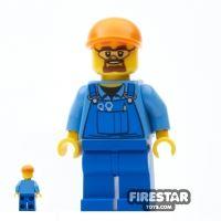 Product shot LEGO City Mini Figure - Construction Worker - Blue Overalls 3