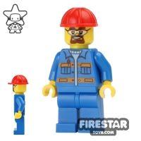 Product shot LEGO City Mini Figure - Construction Worker - Blue Overalls 5