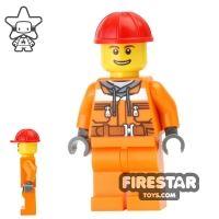 Product shot LEGO City Mini Figure - Construction Worker - Orange Overalls 14