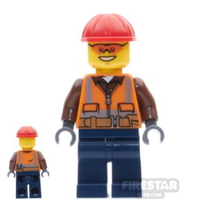 Product shot LEGO City Mini Figure - Construction Worker  - Orange Sunglasses And Vest
