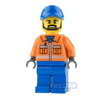 Product shot LEGO City Mini Figure - Construction Worker - Orange Zipper
