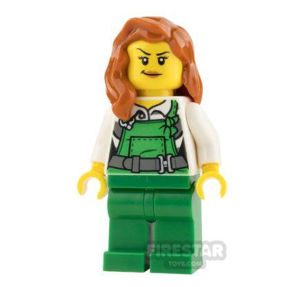 Product shot LEGO City Mini Figure - Female Bandit - Green Overalls