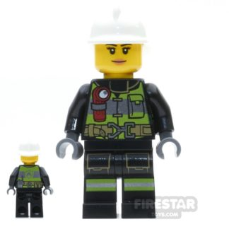 Product shot LEGO City Mini Figure - Firewoman - Utility Belt and Flashlight