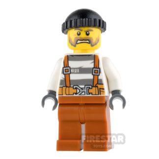 Product shot LEGO City Mini Figure - Jail Prisoner 621 - Moustache