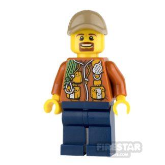Product shot LEGO City Mini Figure - Jungle Explorer - Orange Jacket and Brown Beard