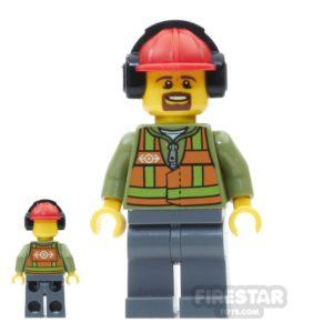 Product shot LEGO City Mini Figure - Light Orange Safety Vest - Brown Goatee
