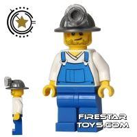 Product shot LEGO City Mini Figure - Miner - Blue Overalls