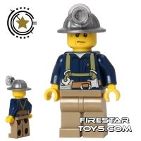 Product shot LEGO City Mini Figure - Miner - Blue Shirt