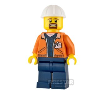 Product shot LEGO City Mini Figure - Miner - Equipment Operator with Beard