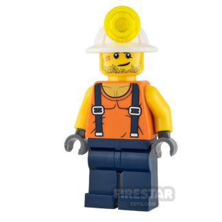 Product shot LEGO City Mini Figure - Miner - Shirt with Straps and Stubble