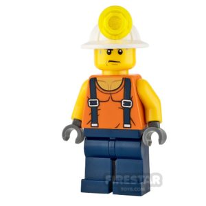 Product shot LEGO City Mini Figure - Miner - Shirt with Straps and Sweat Drops