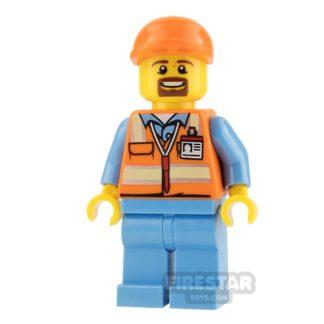 Product shot LEGO City Mini Figure - Orange Safety Vest and Goatee