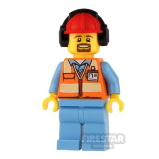 Product shot LEGO City Mini Figure - Orange Safety Vest with Goatee