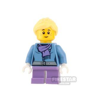 Product shot LEGO City Mini Figure - Purple scarf and Medium Lavender Short Legs