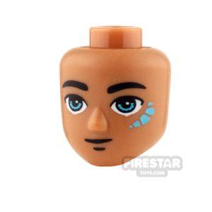Product shot LEGO Elves Mini Figure Heads -  Dark Azure Eyes and Tribal Pattern