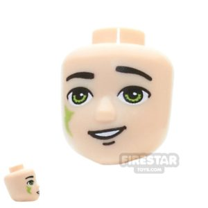 Product shot LEGO Elves Mini Figure Heads -  Lime Eyes and Tribal Pattern