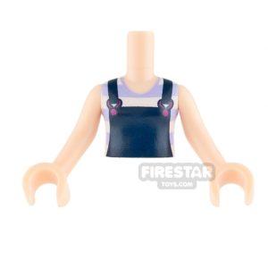 Product shot LEGO Elves Mini Figure Torso - Dark Blue Overalls and Striped T-Shirt
