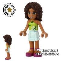 Product shot LEGO Friends Mini Figure - Andrea - Aqua and Lime Outfit