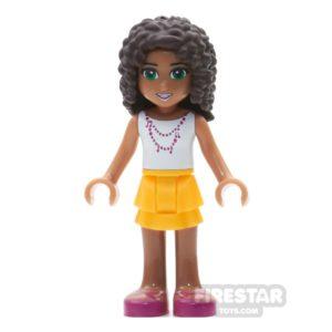 Product shot LEGO Friends Mini Figure - Andrea - Dark Pink Bow