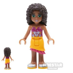 Product shot LEGO Friends Mini Figure - Andrea - Orange Skirt and Geometric Top