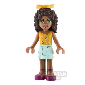 Product shot LEGO Friends Mini Figure - Andrea - Orange Top with Music Notes and Bow