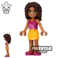 Product shot LEGO Friends Mini Figure - Andrea - Orange and Magenta Outfit