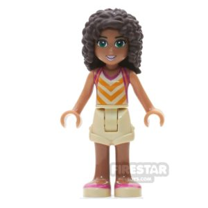 Product shot LEGO Friends Mini Figure - Andrea - Tan Shorts and Striped Top