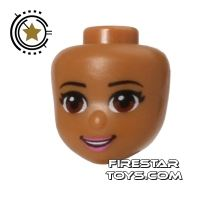 Product shot LEGO Friends Mini Figure Heads - Brown Eyes and Pale Pink Lips