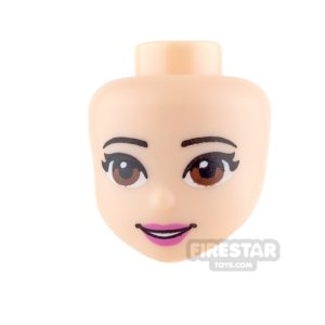 Product shot LEGO Friends Mini Figure Heads - Brown Eyes and Pink Lips