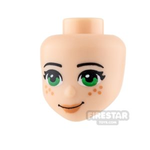Product shot LEGO Friends Mini Figure Heads - Green Eyes and Freckles