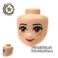 Product shot LEGO Friends Mini Figure Heads - Light Brown Eyes and Freckles