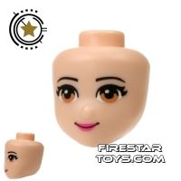 Product shot LEGO Friends Mini Figure Heads - Light Brown Eyes and Pink Lips
