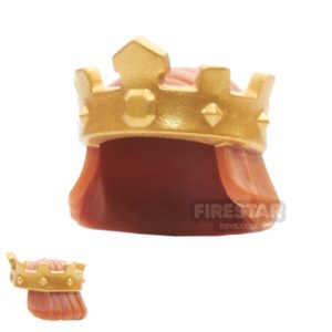 Product shot LEGO - Gold King's Crown with Hair - Dark Orange