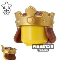 Product shot LEGO - Gold King's Crown with Hair - Reddish Brown