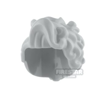 Product shot LEGO Hair - Large Wavy Curls and Small Bun - Light Blueish Gray
