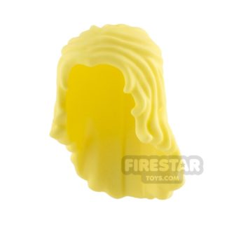 Product shot LEGO Hair - Long Wavy - Bright Light Yellow
