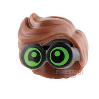 Product shot LEGO Hair - Wavy with Green Goggles - Reddish Brown