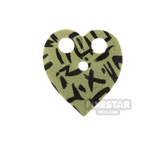 Product shot LEGO - Heart Shaped Neck Cape - Olive Green with Black Markings