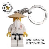 Product shot LEGO Key Chain - Ninjago - Sensei-Wu - Black Sash