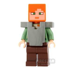 Product shot LEGO Minecraft Mini Figure - Alex - Flat Silver Armour