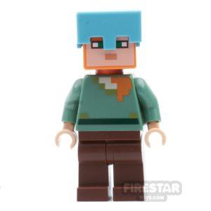 Product shot LEGO Minecraft Mini Figure - Alex with Medium Azure Helmet