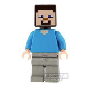 Product shot LEGO Minecraft Mini Figure - Steve - Flat Silver Legs