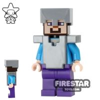 Product shot LEGO Minecraft Mini Figure - Steve With Armour - Flat Silver