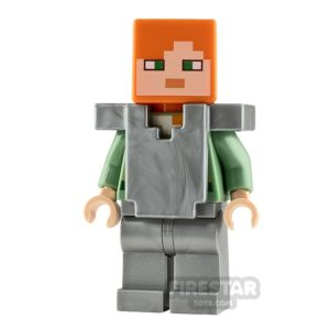 Product shot LEGO Minecraft Minifigure Alex Silver Armour
